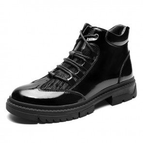 Patent Leather Lift Lace Up Boots Add Taller 2.4 inch / 6 cm Height Increasing Men's Chukka