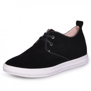 Black British extra increase height shoes elevated board shoe for tall 6cm / 2.36inches