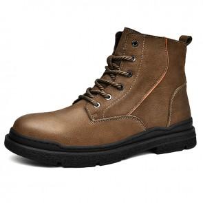 Zipper Height Inreasing Hiking Boot for Men Add Taller 2.4 inch / 6 cm Khaki Chukka Boots
