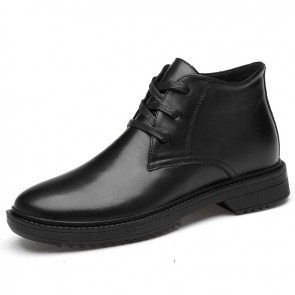 Elevator Dressy Ankle Boots for Men Add Taller 2.8 inch / 7cm Height Increasing High Top Formal Shoes