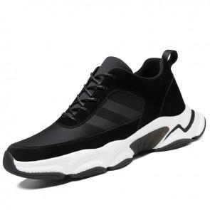 Black Elevator Chunky Sneakers for Men Gain Taller 3inch / 7.5cm Flexible Hidden Heel Lift Dad Shoes