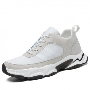 White Elevator Chunky Sneakers Add Height 3 inch / 7.5 cm Flexible Hidden Taller Men Dad Shoes