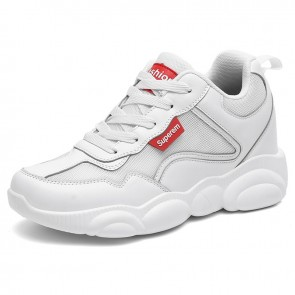 All Match Elevated Dad Shoes Increase Height 3.2inch / 8cm Breathable White Men Clunky Sneakers