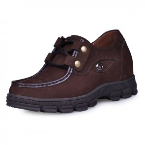 Coffee nubuck leather mountaineering shoes elevate talle 8CM / 3.2inches men height increasing shoe