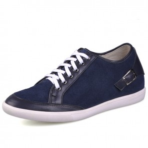 Blue elevator shoes with high quality genuine leather give you height 6cm / 2.36inches