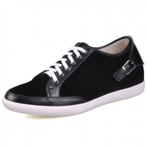 Black elevator shoes with high quality genuine leather increase height 6cm / 2.36inches