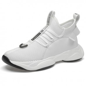 White Chunky Sole Sneakers for Men Increase Heigh Slip On Mesh Walking Shoes Make You Taller 3.2inch / 8cm