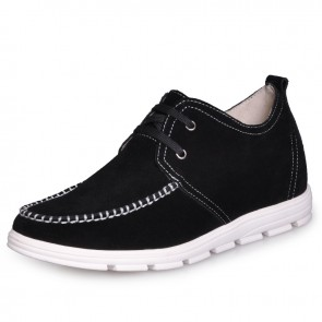 Black Men's comfortable taller casual shoes that give you height 2 Inches