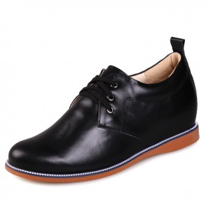 Black Rubber Cowhile Height Elevator Shoes for Men Extra Taller 6cm / 2.5inches Casual shoes