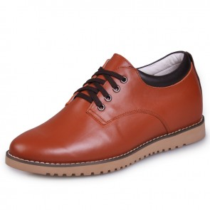 Brown Rubber Cowhide Elevator Shoes for Men Get Taller 6cm / 2.36inches Casual sheos