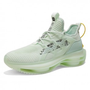 Green Lift Air Bubble Sneakers Elasticity Lightweight Flyknit Tourism Shoes Add Height 2.4 inch /  6cm