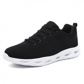 Black Elevator Fitness Shoes for Men Increase Taller 2inch / 5cm Lightweight Mesh Fashion Sneakers