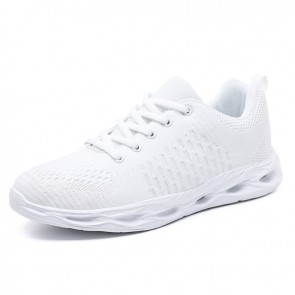 White Elevator Fitness Shoes for Men Gain Taller 2inch / 5cm Lightweight Mesh Fashion Sneakers