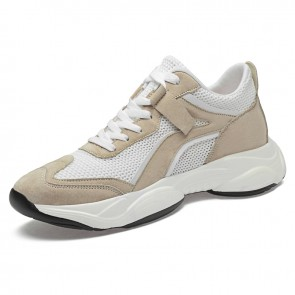 White Height Increasing Chunky Sneakers for Men Taller 2.8inch / 7cm Breathable Elevator Walking Shoes