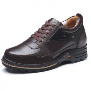 Leather elevator casual shoes taller 9cm