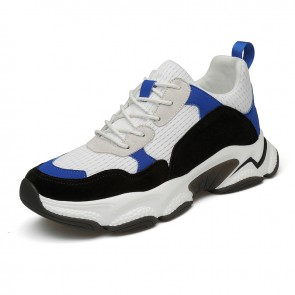 2021 Influencer Height Increasing Sneakers White Mesh Hidden Lift Clunky Shoes Add 3 inch / 7.5 cm
