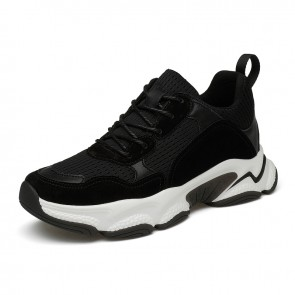 2021 Influencer Elevator Sneakers Black Mesh Trendy Hidden Lift Clunky  Shoes Add Taller 3 inch / 7.5 cm