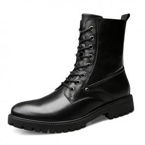 Elevator Motorcycle Boots for Men Increase Height 2.4inch / 6cm Hidden Heel Lift Combat Boot