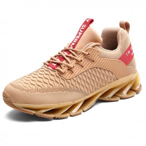 Elevator Men Blade Shoes Increase 2.8inch / 7cm Khaki Lightweight Mesh Walking Fashion Sneakers