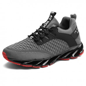 Men Elevator Blade Shoes Height 2.8inch / 7cm Grey Lightweight Mesh Walking Fashion Sneakers
