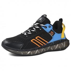 Hidden Lift Tide Men Sneakers Black-Blue Lace Up Flyknit Walking Shoes Increase Taller 2.4 inch / 6 cm