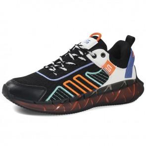 Hidden Height Tide Men Sneakers Black-White Lace Up Flyknit Walking Shoes Gain Taller 2.4 inch / 6 cm