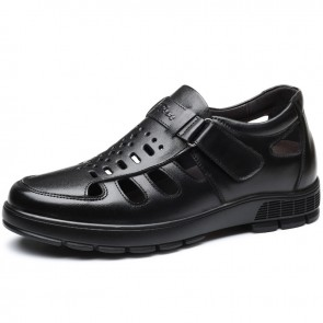 Black Elevator Fisherman Sandals Monk Strap Closed Toe Hidden Lift Beach Shoes Add Taller 3 inch / 7.5 cm