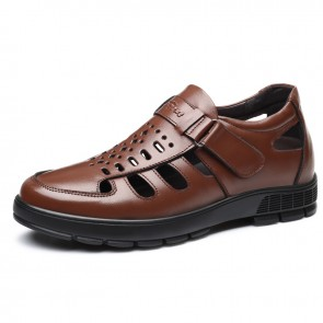 Brown Height Increasing Fisherman Sandals Monk Strap Closed Toe Elevator Beach Shoes Taller 3 inch / 7.5 cm