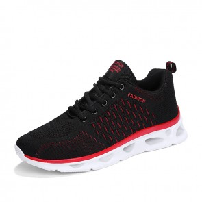 2019 Black-Red Men Elevator Athletic Shoes Increase Taller 2inch / 5cm Performance Flyknit Running Shoes