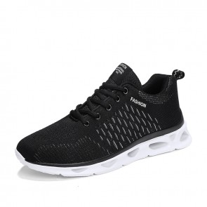 Black-White Elevator Athletic Shoes for Men Add Altitude 2inch / 5cm Performance Flyknit Running Shoes