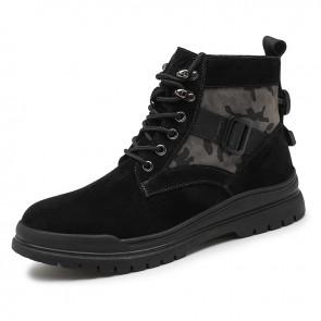 Urban Elevator Sports Boots Add Height 2.4 inch / 6 cm Black Hidden Heel Lift Fashion Chukka Boots