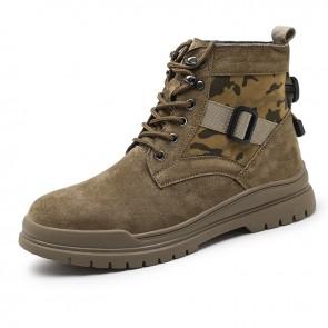 Urban Taller Men Sports Boots Raise 2.4inch / 6 cm Brown Hidden Heel Lift Fashion Chukka Boots