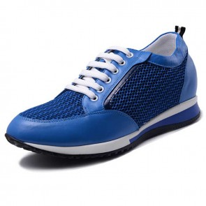 Breathable hidden high heel sneakers 5.5cm / 2.17inch blue lightweight height walking shoes