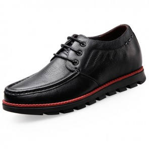 Lightweight Soft Leather Lace Up Elevator Casual Shoes Taller 2.6inch / 6.5cm