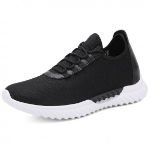 Black Relaxed Slip On Elevator Trainers for Men Increase 2.8inch / 7cm Lightweight Hidden Lift Shoes