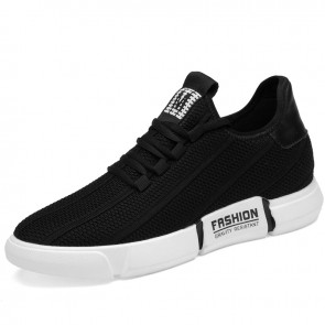 2020 Breathable Hidden Taller Fashion Sneakers for Men Increase Height 2.4inch / 6cm Black Flyknit Relaxed Loafers