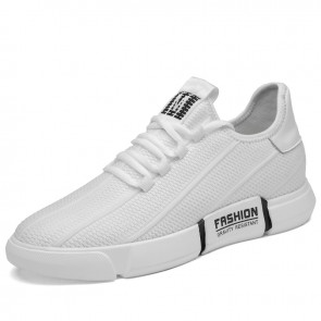 2020 White slip on elevator casual fashion running shoes make you height  2.4inch / 6cm.