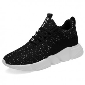 Black 3inch Taller Sneakers Lightweight Slip On Flyknit Walking Shoes Become Height 7.5cm