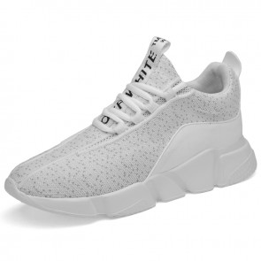 White 3inch Taller Sneakers Lightweight Slip On Flyknit Walking Shoes Increase Height 7.5cm