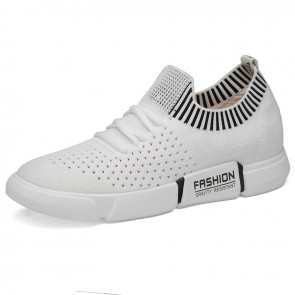 White Daily Height Elevator Sneakers for Men Hollow Out Slip On Walking Shoes Look Taller 2.8inch / 7cm