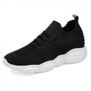 2020 New Elevator Tubular Sneakers for Men Add Taller 2.4inch / 6cm Black Flyknit Slip On Sock Running Shoes