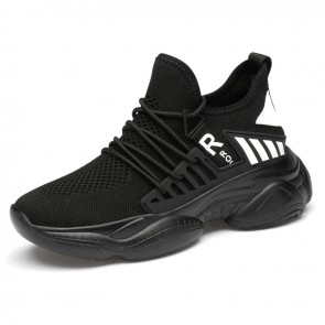 Fresh Hidden Lift Chunky Sneakers Black Flyknit Running Workout Elevator Shoes Add Taller 3.2inch / 8cm