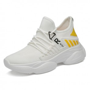 Elevator Chunky Sneakers White-Yellow Flyknit Running Workout Taller Shoes Add Height 3.2 inch / 8 cm