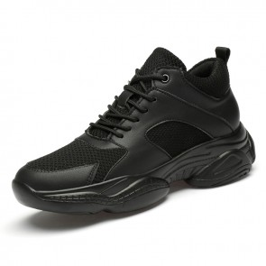 2020 New Unisex Height Increasing Sneakers Add Taller 3.2inch / 8cm  Black Mesh Casual Walking Shoes