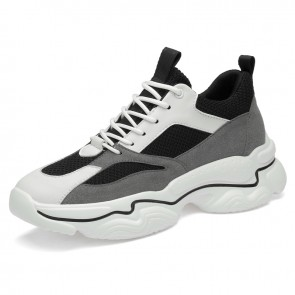 2020 New Elevator Fashion Sneakers for Men Add Taller 3.2inch / 8cm Black Mesh Height Increasing Sports Shoes