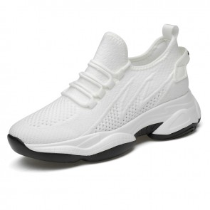White Flexible Lift Chunky Sneakers Slio On Flyknit Walking Shoes That Make You Taller 2.8inch / 7cm