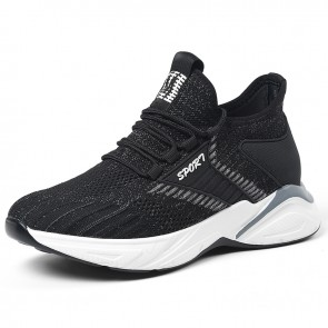 Taller Fashion Chunky Sneakers Black Flyknit Casual Workout Shoes Add Height 3 inch / 7.5 cm