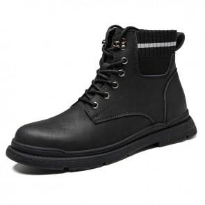 Retro Elevator Ankle Boots for Men Add Taller 3 Inch / 7.5 cm Black Sock Hidden Heel Lift Work Shoes