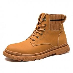 Retro Heighten Ankle Boots Brown Sock Hidden Heel Lift Work Shoes Increase 3 Inch / 7.5 cm