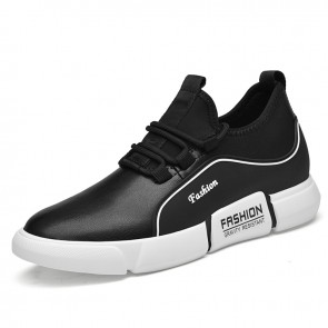 Black Elevator Leather Sneakers for Men Add Taller 3.2 inch / 8 cm Performance Lift Casual Sports Shoes